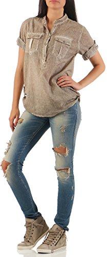 Malito Damen Bluse IM Used Look | Tunika mit Brusttaschen | Hemdbluse mit Knöpfen | Blusenshirt
