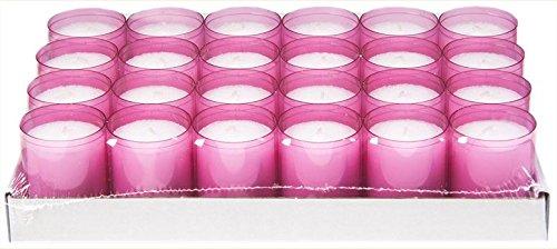 24 rosa Teelichter mit extra Langer Brenndauer (24h) für Feiern/Party/Gastronomie ()