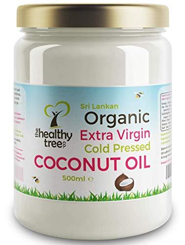 Rohes extra natives Bio Kokosöl - Fantastisch zum Kochen, auf Haar und Haut - Kaltgepresst Kokosnussöl von TheHealthyTree Company (500ml) -