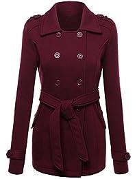 K-youth® Mujer Invierno Doble Fila Hebilla Abrigo Casual Sudadera Chaqueta Capa Jacket Parka Pullover