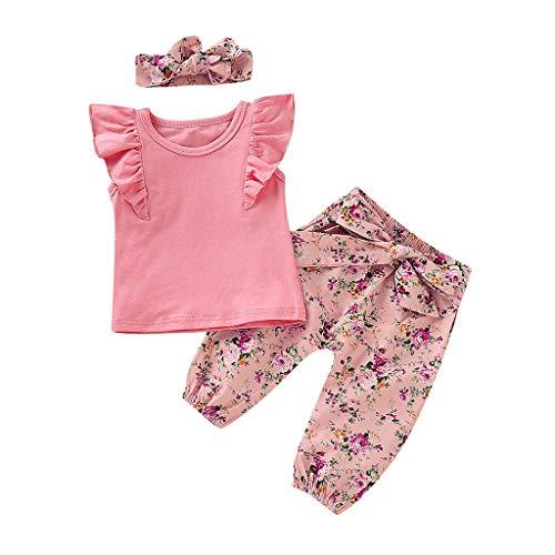 BeautyTop ❤v❤ Baby Mädchen Sommer Blumendruck Outfits Sets 3Stück Toddler Kinder Rundhals Einfarbig Strampler Body + Geblümtes Hosen Neugeborenes Kleinkind Schöne Kleidungsset Dreiteiliger Anzug -