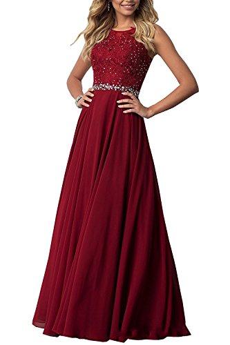 Carnivalprom Damen Chiffon Spitze Abendkleider Elegant Brautkleid Festkleid Ballkleider(Burgund,34)