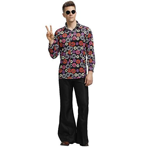 90er Kostüm Jahre Männlich - COSOER Hip Hop Sängerin Cosplay Paar Kostüm 90er Jahre Retro Floral Performance Kleidung Für Halloween Männlich/Weiblich Wear,Male-XL
