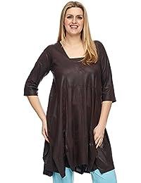 18ab8fa49ab4cc Magna - Damen Übergröße Ballondesign Tunika Kleid Lederoptik mit  Trapez-Ausschnitt Farbe Dunkelbraun