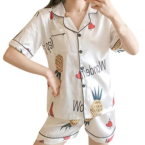 Frauen 2 Stücke Sommer Pyjamas Kurzarm Shorts Pyjamas Lose Nachtwäsche Homewear Damen Hauspyjama Zweiteilig Q-2 (Weiß,L) ()