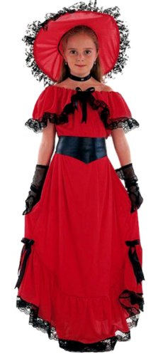 erdbeerloft - Mädchen Karneval Kostüm- Scarlet O'Hara Gewandung Magd Märchen, rot gold, 7-9 ()