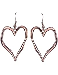 New Ladies Womens Lagenlook Rose Gold Colour Abstract Heart Earrings fashion statement Jewellery