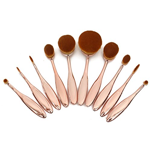 Maquillage Brosse LuckyFine 10pcs Maquillage Brosse de Cosmétique Mis la Poudre Brosse à Dents Ovales Foundation Puff Pinceaux Golden Rose