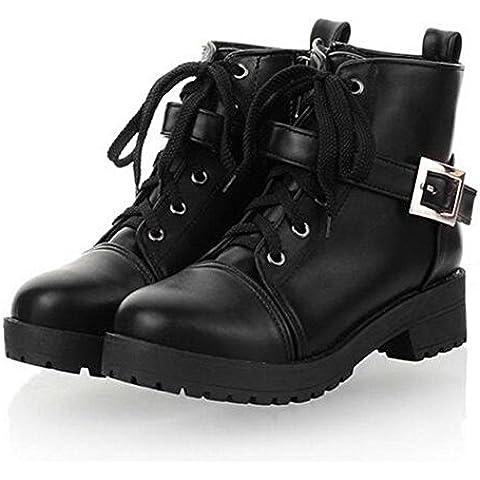 Tempo libero moda Martin stivali stivali singolo con piazza nella parte anteriore con stivali donna pizzo , black , 39