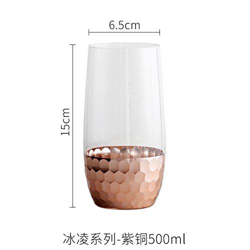 HAN-verre Verre Rose NMC de tasse de jus d'eau verre tasse en verre de bière en verre en verre 301ml,Copper 500ml