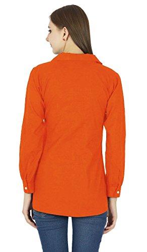Bouton A manches longues En Baisse Top Vetements De Kurta Orange sombre