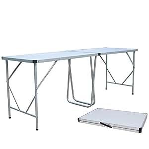 Plateau en aluminium avec poignée de transport 240 x 80 cm-panneau mDF (11,2 kg, pliable, camping table valise aluminium, à table table de jardin pliante hi buffet