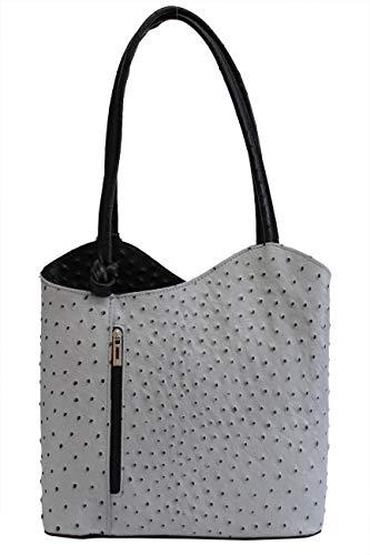 4eddbd7515bc0 AMBRA Moda Damen Handtasche Lederrucksack Rucksacktasche Backpack 2in1 Rucksack  Schultertasche SL703 (Grau Schwarz)