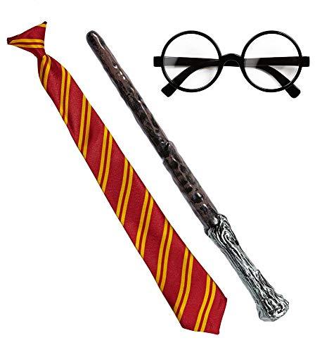 shoperama Zauberer Set Krawatte Zauberstab Brille Kostüm-Zubehör Erwachsene Schlips - Zauberlehrling Kostüm