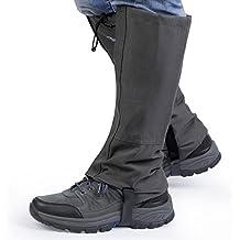 OUTAD Polainas Impermeable al Aire Libre y Polainas Prueba de Viento Guardia de Protección para Las Piernas Senderismo Esquí Escalada (gris oscuro, M)