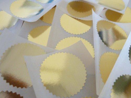 Mini-Aufkleber 24Stück, 42mm gewellt, glänzend, gold, ideal zum Versiegeln, Aufkleber zum Prägen und für Preise