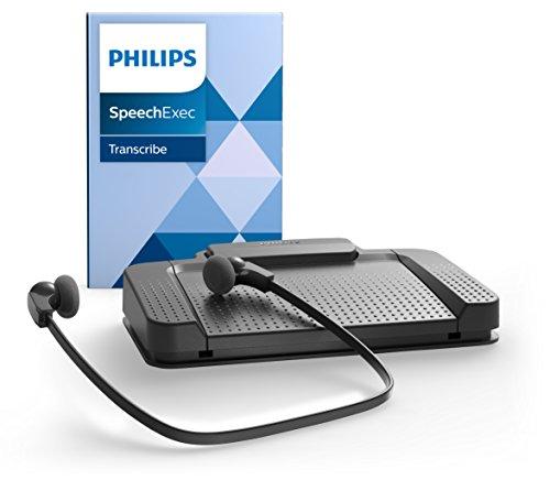 Philips LFH7177 Wiedergabe-Set für digitale Diktiersysteme von Philips, inkl. USB-Fußschalter ACC2330, Stereo-Unterkinn-Kopfhörer LFH0334, Wiedergabe-Software SpeechExec 10, anthrazit