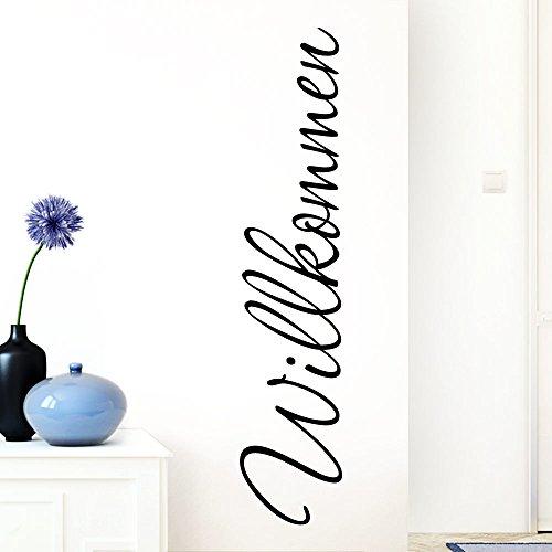 Grandora W1099 Wandtattoo Wort Willkommen I schwarz 13 x 58 cm I deutsch Flur Diele Eingang selbstklebend Aufkleber Wandaufkleber Wandsticker