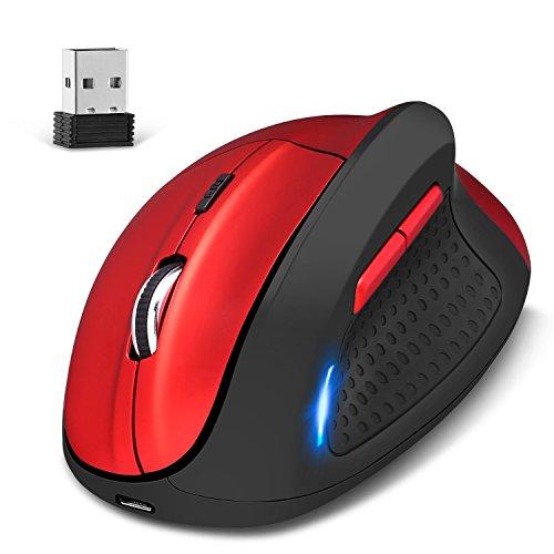 b4733619b5174 KINGTOP Kabellos Vertical Mouse Dual Mode Wired und 2.4G Wireless  Wiederaufladbare Ergonomische Vertikalmaus 4800DPI 5