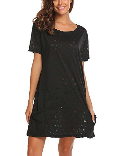 Ekouaer Damen Nachthemd Nachtkleid O-Ausschnitt Kurzarm Star Print Sleepwear Nachtwäsche Kleid Casual mit Tasche, Stil 1-Schwarz, EU 36(Herstellergröße:S)