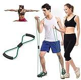 Cuerda Banda Elástica Tubo Tipo 8 , 84cm , 10cm grosor, para Gimnasio, Entrenamiento, Estiramiento, Rehabilitación Yoga Pilates Color Negro, Resistente con goma