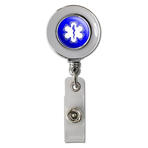 Star Of Life Medical Health EMT RN MD Retractable Reel chrom Badge ID Karte Halter Clip - Emt-abzeichen