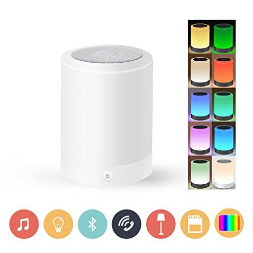 YUNZHUANG Wireless LED Regulable Luz de Noche Con Altavoces Bluetooth, Altavoz Bluetooth 4.0, Smart Touch LED Lampara de Estado de Animo, Muisc Reproductor, Altavoz Bluetooth de Manos Libres, Tarjeta del TF, aux Apoyado, RGB + W, Blanco