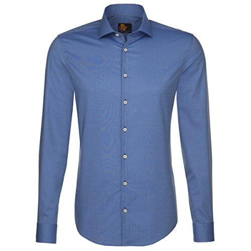 Seidensticker Herren Langarm Hemd UNO Super Slim Stretch Hai-Kragen blau  strukturiert 572317.18 Blau