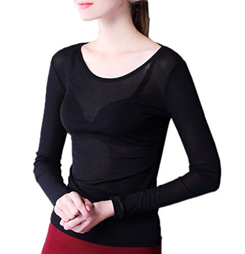 Smile YKK T-shirt Transparent Femme Dentelle Chemise Top Manches Longues Blouse Pull Col Rond Noir