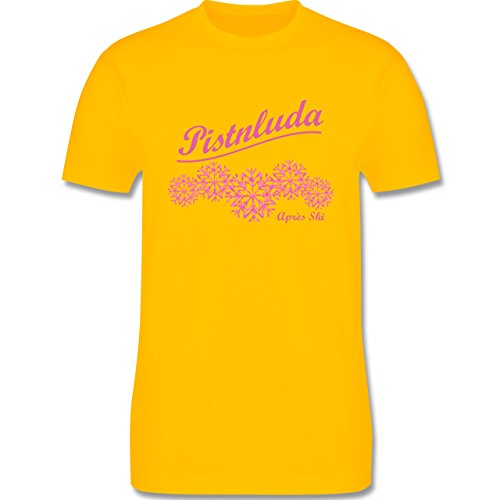 Après Ski - Pistnluda - Schneeflocke pink - Herren Premium T-Shirt Gelb