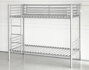Double & Triple Sleeper Bunk Bed Metal Frames w/ Ladder in Silver or Black No MattressNEW