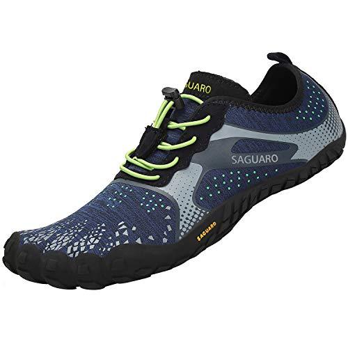 SAGUARO Herren Outdoor Fitnessschuhe Barfußschuhe Damen rutschfest Straßenlaufschuhe Trekking Traillaufschuhe Walkingschuhe Männer Schwimmschuhe Blau 43 EU