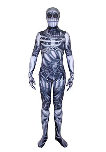 Jungen Prom Zombie Kostüm - URVIP Jungen Mädchen Halloween Jumpsuit Kostüm 3D Print Langarm Skinny Skeleton Catsuit Cosplay Overall Body Blau Groß Mund Schädel XL