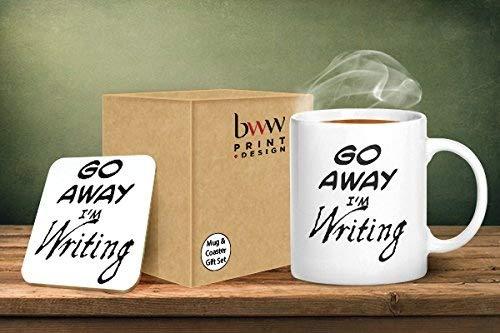 BWW Print Ltd Go Away I' m writing tazza e sottobicchiere abbinati–stampato tazza & sottobicchiere set regalo