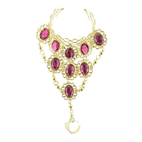 (Fenteer Damen Pailletten Edelsteine Kette Schmuck Ring Armband Armschmuck Kostüm für Fasching Karneval Halloween - Rosa)