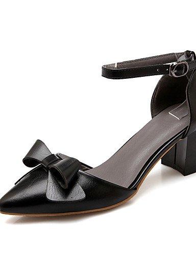 WSS 2016 Chaussures Femme-Bureau & Travail / Habillé-Noir / Rouge / Amande-Gros Talon-Talons / Confort / Bout Pointu-Talons-Nappa Leather black-us6.5-7 / eu37 / uk4.5-5 / cn37