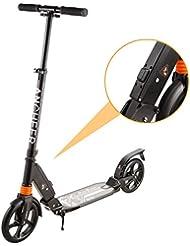 WeSkate City Roller Scooter für Erwachsene Kinder ab 12 Jahre mit einem Sekunde Klapp - System und der Doppelfederung   klappbarer und verstellbare Big Wheel Cityroller Tretroller bis 100kg