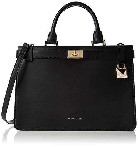 Michael Kors Damen Tatiana Medium Leather Satchel Tornistertasche, Schwarz (Black), 11,4x22,9x32,4 cm -