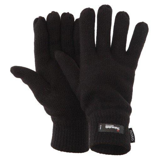 Floso Guantes de punto Thinsulate Invierno/Frio para hombre/caballero (3M 40gr) (Talla Única/Negro)