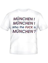 BRUBAKER Fun Shirt mit lustigen Sprüchen - 'Who the Fuck is München' Weiß Baumwolle Gr. M - XXL