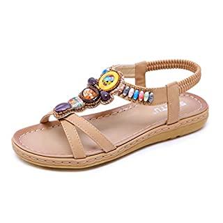Offene Sandalen Damen Sommer Flache Sandaletten mit Strass - Bohemian Stil,Beige,40 EU