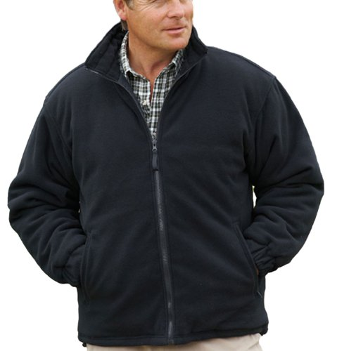 mens-champion-glen-country-clothing-padded-quilt-lined-fleece-coat-black-l