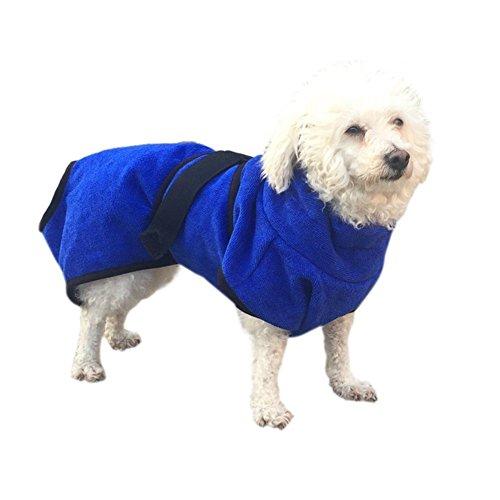 Albornoz para perros de microfibra súper absorbente con secado rápido, baño para perros, azul