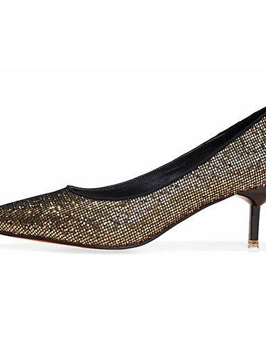 WSS 2016 Chaussures Femme-Décontracté-Noir / Argent / Or-Talon Aiguille-Talons-Talons-Laine synthétique silver-us5.5 / eu36 / uk3.5 / cn35
