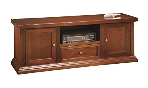 Arte Povera - Meuble TV en bois avec 2 portes et 1 tiroir, couleur noyer