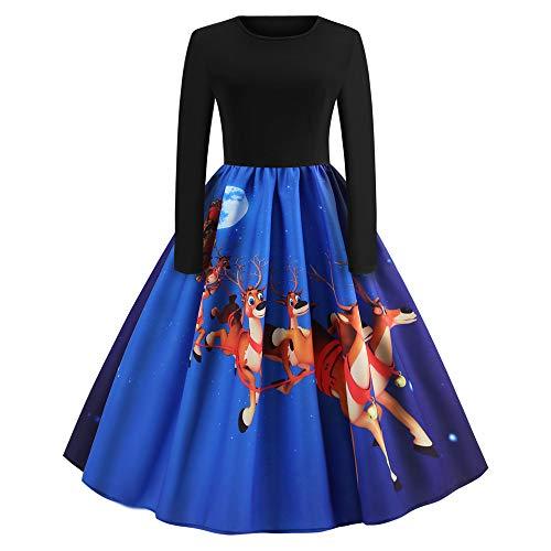 OverDose Damen Happy Halloween Frauen Langarm O Hals Druck Vintage Kleid Party Clubbing Karneval eleganten Kleid Rock(X-D-Blau,L)