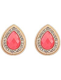 Under 499 Red Gold Plated Stud Earrings For Women & Girls By Hot And Bold
