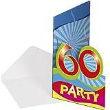 8 Einladungen Einladungskarten zum 60. Geburtstag Party mit Zahl 60