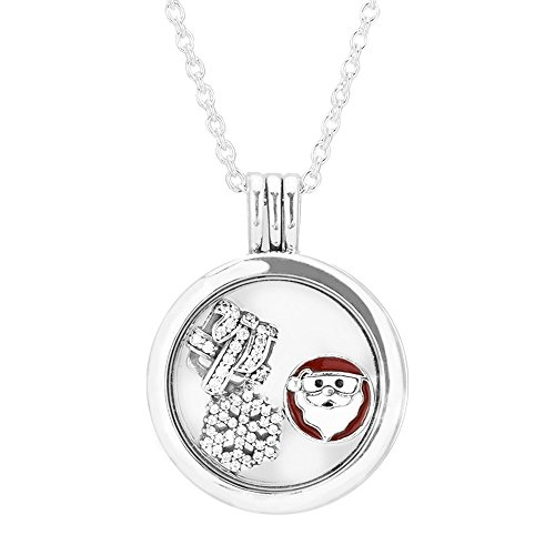EMOSAN 2016 regalo di Natale Media Floating Locket autentico 925 Ciondolo in argento e collana con i monili fascini Petite Elemento Pack (media medaglione flottante) - Collana Dei Monili Di Modo Del Pendente Locket