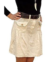 08032 Damen Leinen Rock, Minirock, 100% Leinen, beige, braun, grün, rot, schwarz, weiß, Größe: S, M, L, XL.